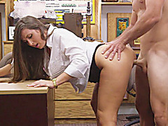 Brunette blows and fucked to get a deal
