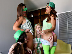 Sexy Girls out to get their pussies rammed into hot wild hardcore Action in a college street party