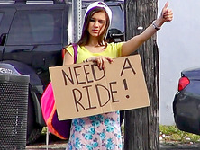 Teenage hitchhiker London Smith fucked