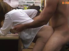 Busty woman pussy nailed in the pawnshop