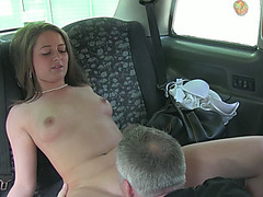 Gorgeous euro amateur Scarlett flashes her tits for a free taxi fare