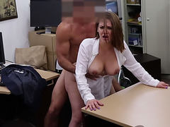 Milf with pierced toungue banged hard over counter
