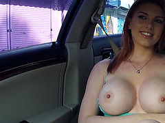 Huge tits redhead Rainia Belle rides a huge hard prick and receives a hot cum