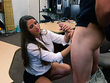 Pretty amateur sucks a big cock and gets hardcore banging at the pawnshop
