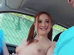 Eva a tight redhead gets banged hard on a lonely street
