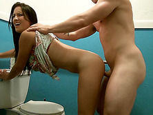 Stranded gal Calenita fucked in a toilet