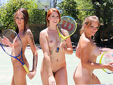 Lovely girls gets horny in tennis class with the guy who they are with