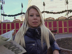 Eurobabe sucks a real bratwurst for cash