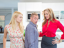 Teen Natalia Starr and her horny stepmom Julia Ann in threesome sex