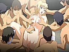 Hentai coed brutally gangbanged and cummed allbody
