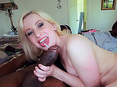 Sweet white chick Kira Lake fucks black cock