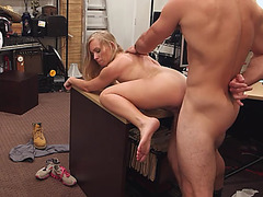Hot blonde milfseduces pawnshop guy to sell her car and gets fucked