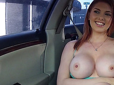 Busty gal Rainia Belle fucked in the car