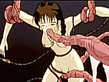 Caught hentai girls group drilled by red tentacles