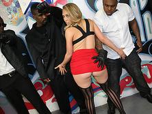 Busty slut devastated by big black cocks