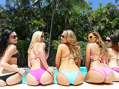 Goddess beauty College coeds at the pool party