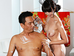 Brunette Brunette Marica Hase removes soreness from Takuos long day training