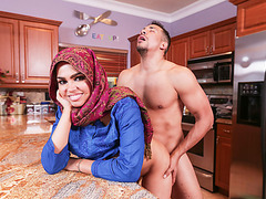 Arab teen Ada gets a warm pussy Cream in their house