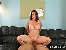 Sweet ass mom humps dick on the sofa