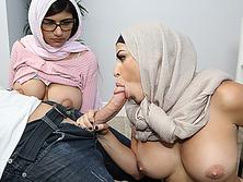 Mia Khalifa and Julianna Vega fucking a huge dick