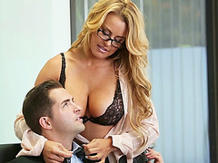 Big tits Corrina Blake sucks huge throbbing cock and gets fucked