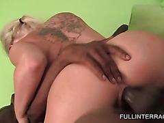 Big ass blonde jumping fat black pecker