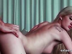 Sassy blonde pussy smashed doggy style