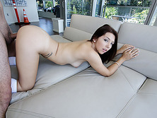 Charming and small Ariana gets her pussy fucked in the couch by dude