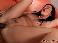 Wet brunette fucks giant black dick to orgasm