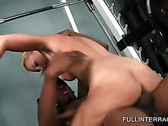 Hot blonde taking fat black dick at the gym