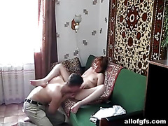Teens fuck at home on the sofa