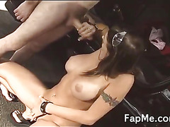 Busty chick loves pleasing a white cock