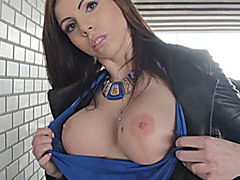 Eurobabe flashes big tits and analyzed by pervert stranger