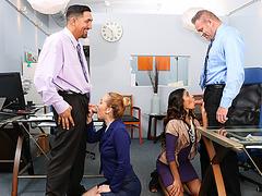 Gigi and Katalina give good massage on their boss