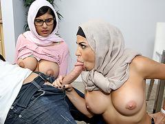 Busty Mia Khalifa threesome with stepmom
