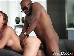 Rilynn Rae interracial sex with black guy on the couch