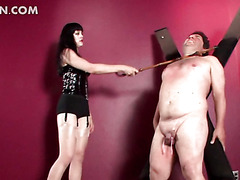 Mistress spanking and cock torturing tied up guy