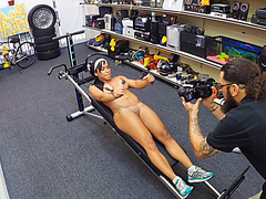 Busty muscular gym trainer giving deep heads and spread her pussy in the shop