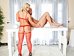 Cute masseuse blowjobs under the table