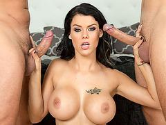 Perfect shaped Peta Jensen gives her man a slapy blowjob