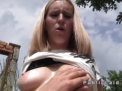 Busty Euro blonde bangs outdoor pov for money