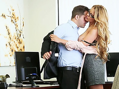 Babe Corrina Blake wants to have a hardcore fucking action in the morning at the office