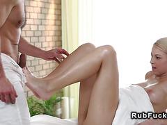 Beautiful ass blonde getting massage and fuck