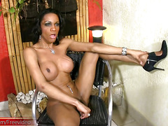 Ebony hottie with cool piercing reveals boobs and jerks cock
