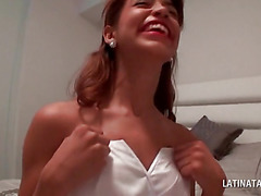 Latina hottie playing dress up shows sexy assets