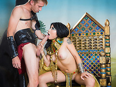 Super horny brunette babe Rina Ellis imagined herself as Cleopatra getting fucked hard