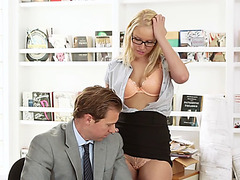 Nerdy office girl Vanessa gets her sweet tight pussy penetarted