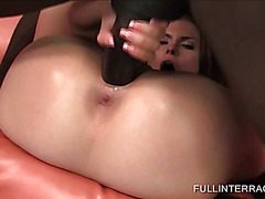 Gorgeous blonde doing massive black shaft