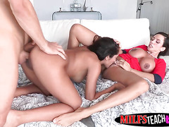 MILF Ariella and stepdaughter Chloe love getting good facial