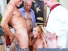 Horny old men seduce Raylin Ann strip off her clothes